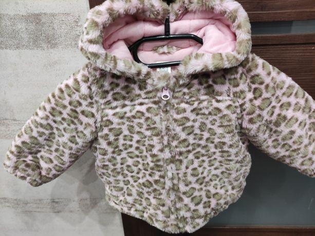 Śliczna cieplutka kurteczka zimowa dla dziewczynki 6-9 miesięcy