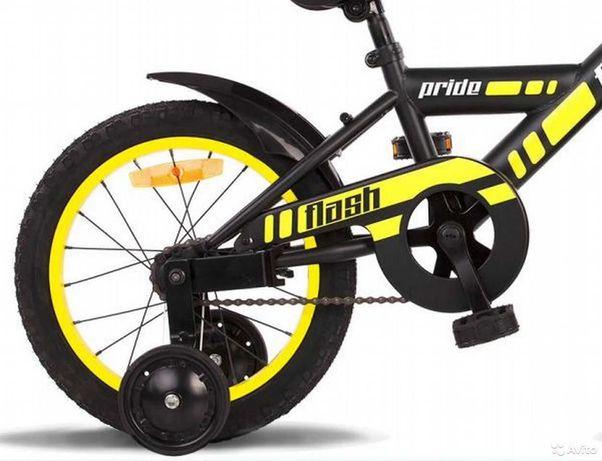 Детский велосипед 16 pride flash 2015 черно-желтый