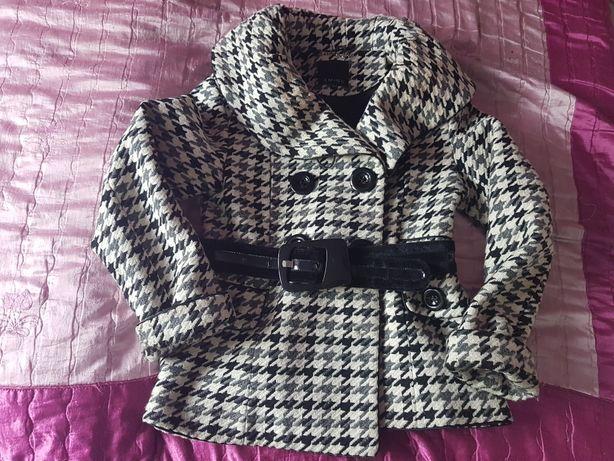 Płaszcz kurtka w kratę czarno biała 40 New Yorker gruby jesień zima