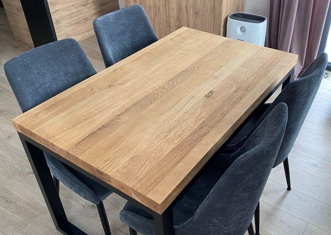 stół dębowy lity 126x80 5cm malowany proszkowo