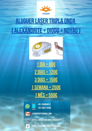 Aluguer laser tripla onda Diodo + Alexandrite + NDYAG 10 / 12 barras