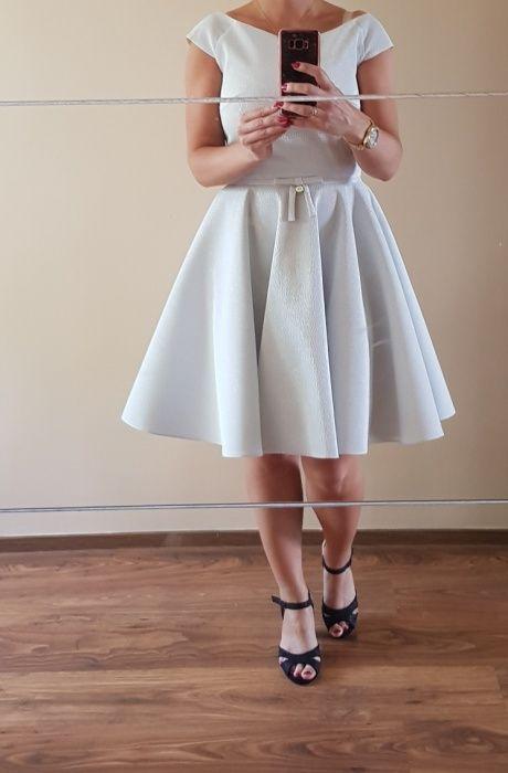 Biało srebrna sukienka rozmiar 38 stan idealny