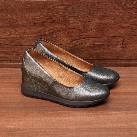 Туфли женские на платформе кожаные (стелька 25.5 см