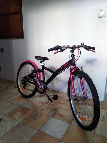 "Bicicleta Decathlon Btwin Poply 500 roda 24"" com extras"