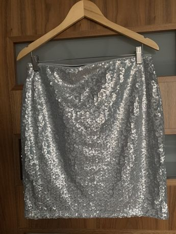 Spódnica srebrna z cekinami rozm M nowa!