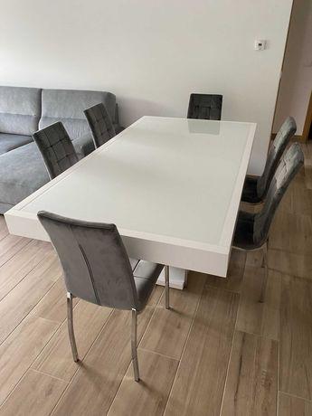 Mesa jantar lacada branco brilho nova, 110x200cm extensível 6 cadeiras