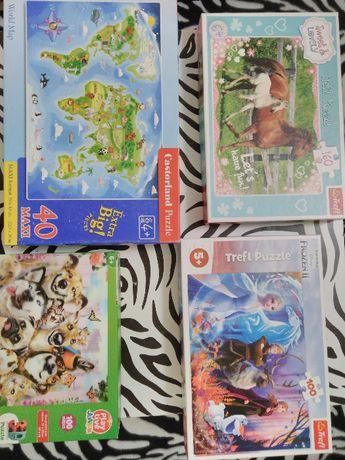puzzle Frozen Kraina Lodu, psy 3D, konie, mapa świata