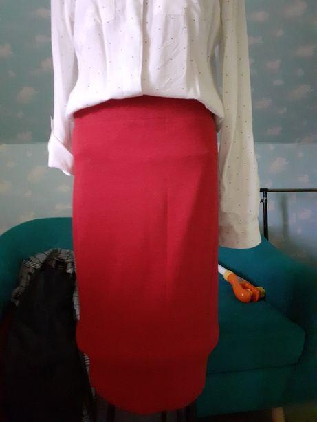 Bordowa spódniczka midi r38-40