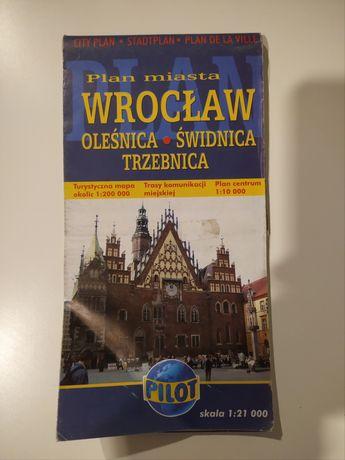 Mapa Wrocław Oleśnica Świdnica Trzebnica plan miasta 1:21000