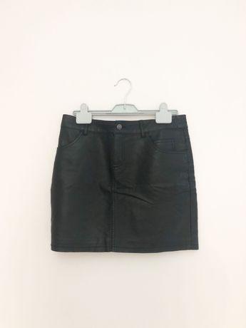 Skórzana czarna krótka spódniczka CUBUS 38 M
