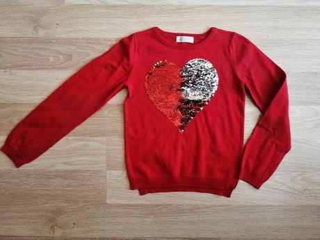 Sweter serce z cekinami H&M r. 134-140
