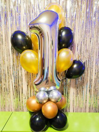 Воздушные гелиевые шарики, метровые цифры, коробка-сюрприз