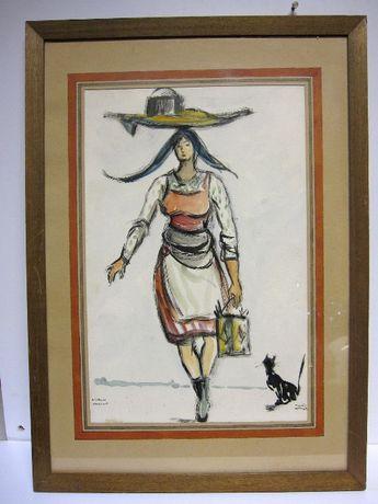 Varina Lisboa-assinada João Alberto - pintura original - técnica mista