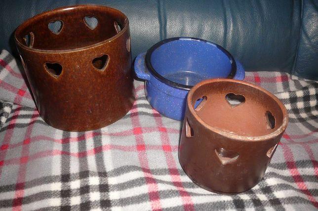 Donica - osłona   brąz  serca  ceramika stara
