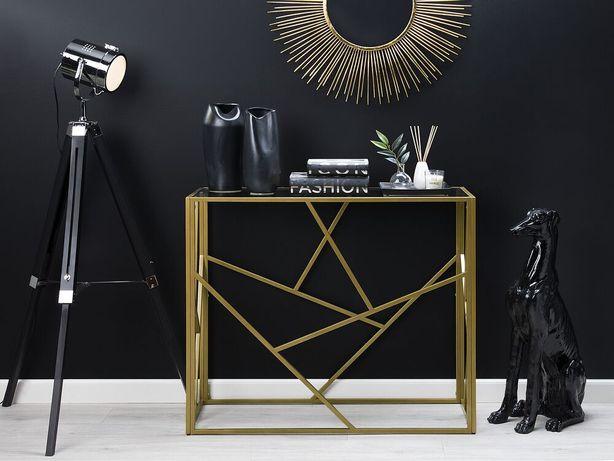 Consola dourada com tampo de vidro ORLAND - Beliani