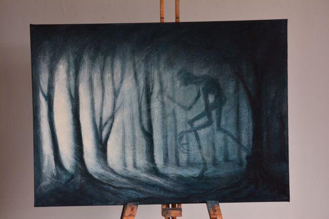 Obraz na płótnie ,Droga,las,ciemność,akryl,handmade,gra o tron