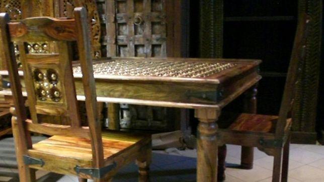 Stół kolonialny zestaw+4 krzesła piękny lite drewno SALON KUCHNIA