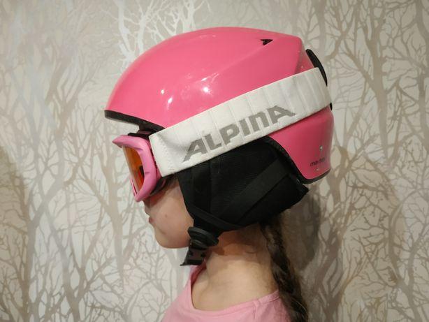 Kask narciarski różowy Martes rozm.S (50-56) i gogle okulary Alpina)