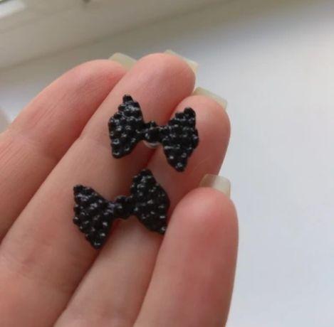 Nowe kolczyki. Czarne kokardki.Sztuczna biżuteria na Walentynki