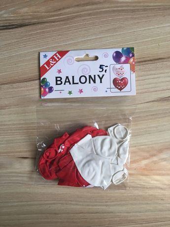 Balony serca białe, czerwone, 8 szt. I love you, walentynki, wesele
