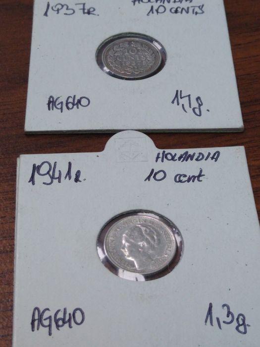 10 centów Holandia Wilhelmina 1937,41 rok srebro Stargard - image 1