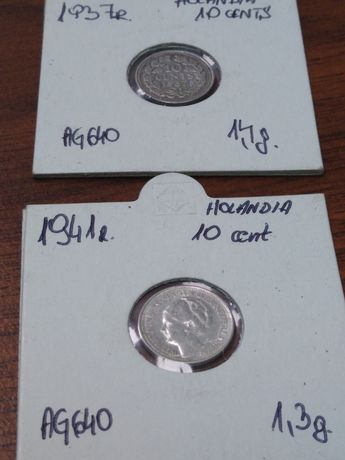 10 centów Holandia Wilhelmina 1937,41 rok srebro