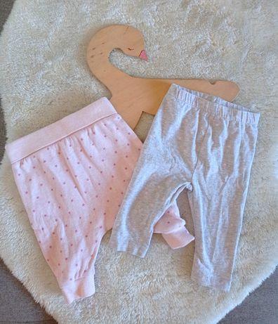 Zestaw legginsy spodnie baggy szare różowe nadruk gwiazdki 56cm 62cm