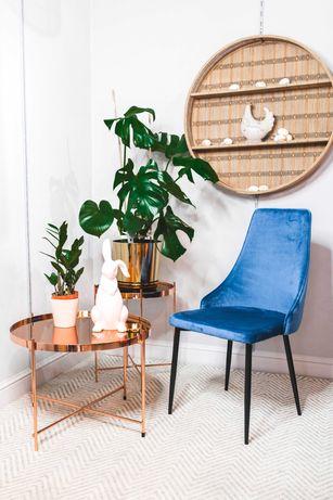 Krzesło Nowoczesne Tapicerowane Welur - Niebieski