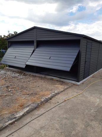 Garaż blaszany drewnopodobny konstrukcja profil zamknięty