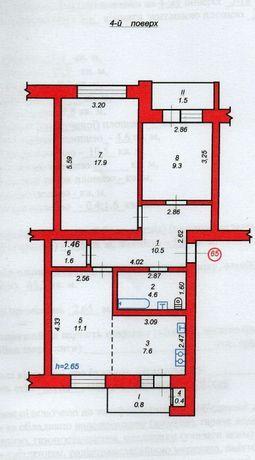 Продаж з-кімнатної квартири м.Ходорів