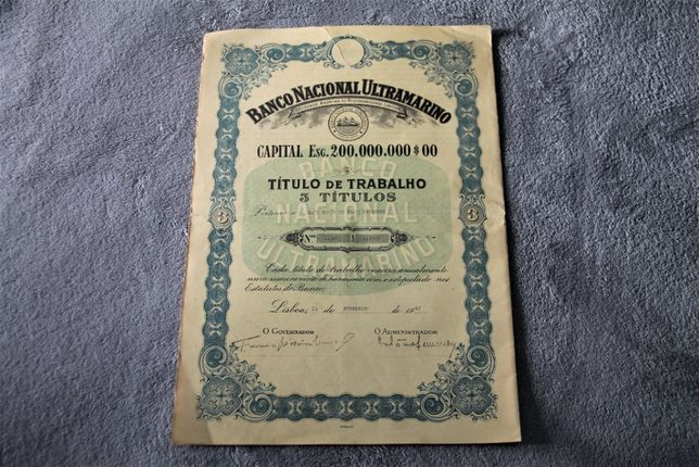 3 Títulos de Trabalho - Banco Nacional Ultramarino - 1967 - RARO/ÚNICO