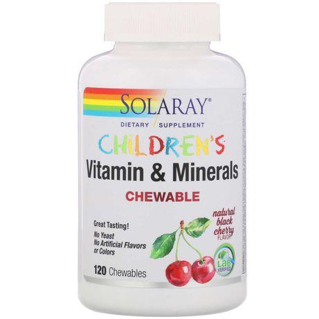 Solaray, Детские жевательные витамины и минералы, 120 шт.