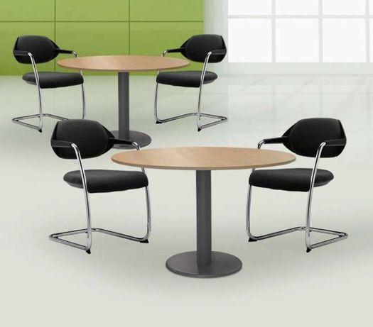 Mesa reunião redonda estrutura metálica e tampo melamina material Novo