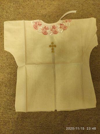 Рубаха, рубашка для крещения ребёнка, для девочки. Крестильная белая