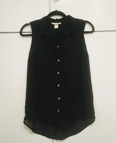 H&M bluzka koszulowa czarna lekka mgiełka rozm. 34 XS