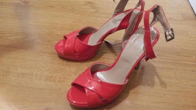 Skórzane sandały na obcasie / szpilki słupek VENEZIA