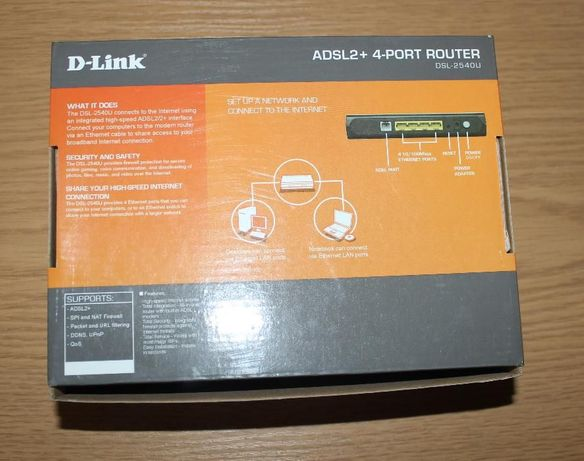 Модем D-Link DSL-2540U на 4 компьютера
