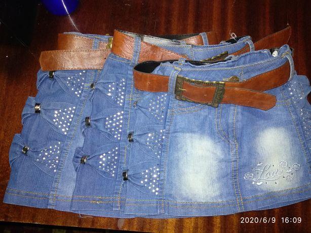 Джинсовые юбки ( НОВЫЕ)  для девочек,5,6,7 лет(ростовка)