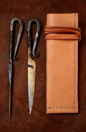 Sztućce nóż + szpikulec + pochewka - bushcraft
