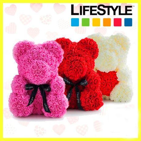 3D Мишка из роз 25 см Подарок игрушка медведь Медведь из цветов ХИТ!