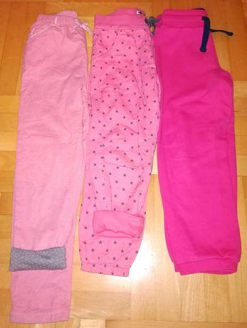 Spodnie 3 pary rozmiar 116 i 122 różowe dziewczęce