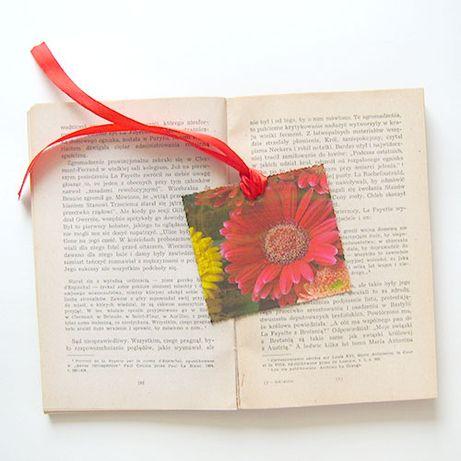 kwiatek zakładka do książki,gerbera zakładka do ksiązki, mała zakładka