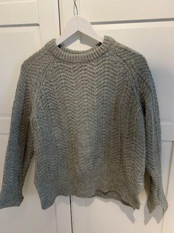 Szary welna klasyczny sweter h&m gruby splot  2020