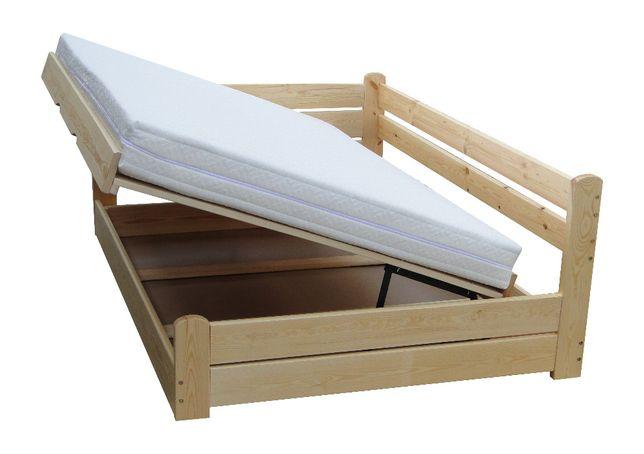 łóżko z oparciem i pojemnikiem otwierane z boku FORTECA 90x200