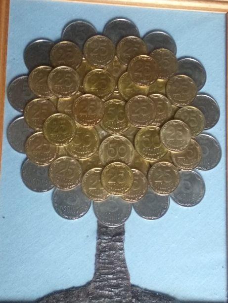 Денежное дерево из монет - картина своими руками.