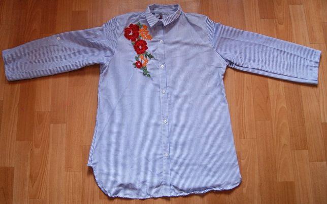 Koszula w paski z haftem kwiata