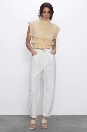 Slouchy плотные белые свободные джинсы слоучи zara