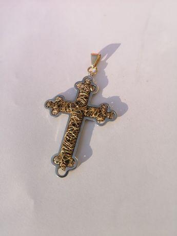 Duży złoty krzyż krzyżyk próba 585 5.5g złoto azur