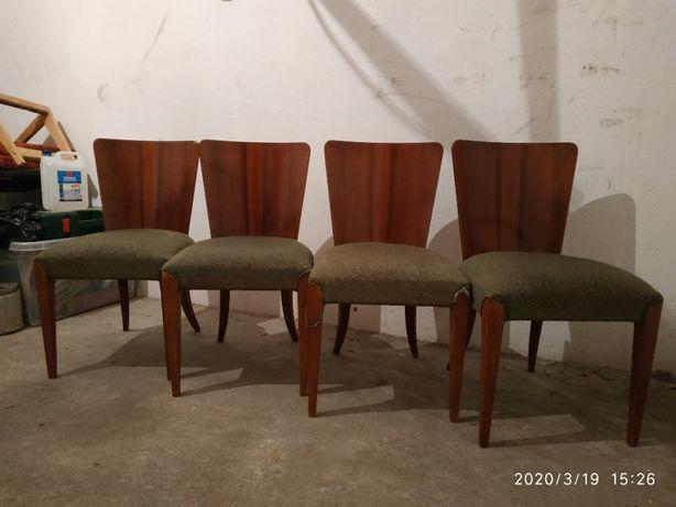 Komplet 4 krzesła Jindrich Halabala vintage PRL art deco