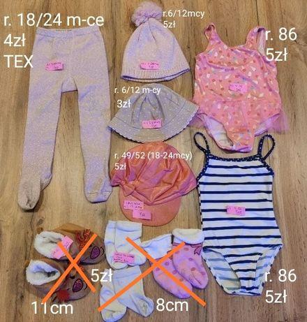 kąpielówki, czapki, rajstopki, skarpetki różne rozmiary